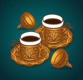 Vector hand drawn illustration concept of Turkish coffee cup symbol icon stock illustration