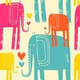 Vector hand drawn illustration with cote colorfull elephants royalty free illustration