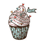 Vector hand drawn illustration of cupcake with label 'For mom' Royalty Free Stock Photo