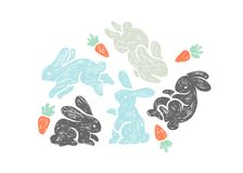 Vector hand drawn illustration with cute bunnies and carrots.   Royalty Free Stock Photography