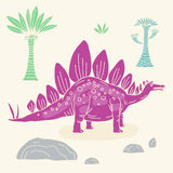 Vector hand drawn illustration with cute cartoon doodle dinosaur. Royalty Free Stock Image