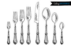 Vector hand drawn illustration with cutlery set Royalty Free Stock Photography