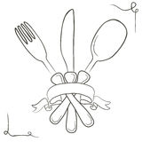 Vector hand drawn illustration with cutlery set. Sketch. Vintage Stock Photo