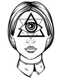 Vector hand drawn illustration of cyclops. Tattoo hand sketched artwork. All seeing eye pyramid symbol. Template for card, poster, banner, print for t-shirt Stock Photo
