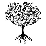 Vector hand drawn illustration, decorative ornamental stylized tree. Black and white graphic illustration isolated on the white background. Inc drawing Stock Photography