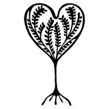 Vector hand drawn illustration, decorative ornamental stylized tree. Black and white graphic illustration isolated on the white background. Inc drawing royalty free illustration
