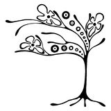Vector hand drawn illustration, decorative ornamental stylized tree. Black and white graphic illustration isolated on the white background. Inc drawing Royalty Free Stock Image