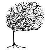 Vector hand drawn illustration, decorative ornamental stylized tree. Black and white graphic illustration isolated on the white background. Inc drawing Royalty Free Stock Photo