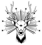 Vector hand drawn illustration of deer with three eyes. vector illustration
