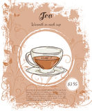 Vector hand drawn illustration of drinks menu pages with cup of black tea Stock Image