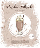 Vector hand drawn illustration of drinks menu pages with cup of chocolate milkshake Royalty Free Stock Photo
