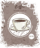 Vector hand drawn illustration of drinks menu pages with cup of coffee Royalty Free Stock Image