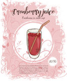 Vector hand drawn illustration of drinks menu pages with cup of cranberry juice Royalty Free Stock Image