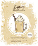 Vector hand drawn illustration of drinks menu pages with cup of eggnog Royalty Free Stock Photography