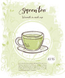 Vector hand drawn illustration of drinks menu pages with cup of green tea Stock Photo