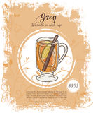Vector hand drawn illustration of drinks menu pages with cup of grog Stock Images