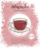 Vector hand drawn illustration of drinks menu pages with cup of hibiscus tea Royalty Free Stock Photo
