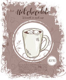 Vector hand drawn illustration of drinks menu pages with cup of hot chocolate Stock Photography