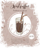 Vector hand drawn illustration of drinks menu pages with cup of iced coffee Royalty Free Stock Image