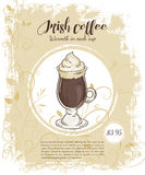 Vector hand drawn illustration of drinks menu pages with cup of irish coffee Stock Photography