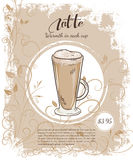 Vector hand drawn illustration of drinks menu pages with cup of latte Stock Images