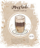 Vector hand drawn illustration of drinks menu pages with cup of macchiato Royalty Free Stock Images
