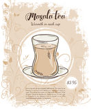 Vector hand drawn illustration of drinks menu pages with cup  of masala tea Stock Photo