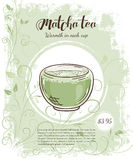 Vector hand drawn illustration of drinks menu pages with cup of matcha Stock Photos