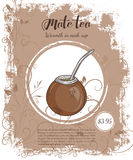 Vector hand drawn illustration of drinks menu pages with cup of mate Royalty Free Stock Photo