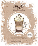Vector hand drawn illustration of drinks menu pages with cup of mocha Royalty Free Stock Image