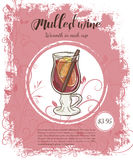 Vector hand drawn illustration of drinks menu pages with cup of mulled wine Stock Image