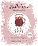 Vector hand drawn illustration of drinks menu pages with cup of mulled wine Royalty Free Stock Image
