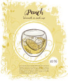 Vector hand drawn illustration of drinks menu pages with cup  of punch Stock Photo
