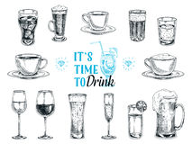 Vector hand drawn illustration with drinks. Sketch vector illustration