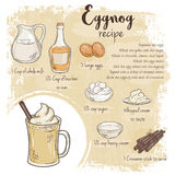 Vector hand drawn illustration of eggnog recipe with list of ingredients Royalty Free Stock Images