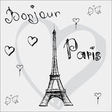 Vector hand drawn illustration with Eiffel tower. Bonjour Paris Stock Image
