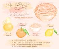 Vector hand drawn illustration of energy citrus salt body scrub recipe royalty free illustration