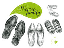 Vector hand drawn illustration with family shoes. Royalty Free Stock Photography