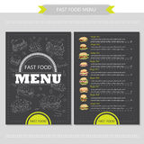 Vector hand drawn illustration with fast food Stock Image