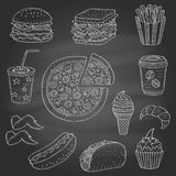 Vector hand drawn illustration of fast food. Vector set of fast food hand drawn illustration, with burger, hot dog, pizza, sandwich, hamburger, soda cup, ice Stock Images