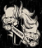 Vector hand drawn illustration of ` Firewater` with head of devil. Royalty Free Stock Image