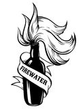 Vector hand drawn illustration of ` Firewater`. Royalty Free Stock Images