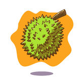 Vector hand drawn illustration of a floating durian fruit on orange background. Durian is well known as the king of fruit and is well known in Malaysia royalty free illustration