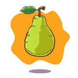 Vector hand drawn illustration of a floating green pear fruit on orange background. There is a grean leaf and brown stalk on the fruit stock illustration
