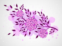 Vector hand drawn illustration with flowers on textured watercolor background. Stock Photos