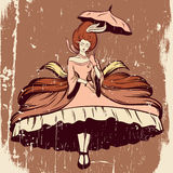 Vector hand drawn illustration of flying  woman. In dress with crioline and umbrella. Tattoo surreal artwork. Template for card, poster, banner, print for t Stock Photography