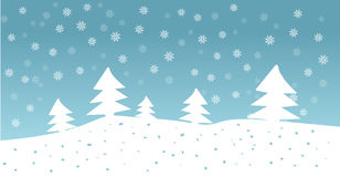 Vector hand drawn illustration of forest with snowfall in blue sky Stock Photos
