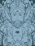 Vector hand drawn illustration of fortune teller with three eyes. Hand sketched creative surreal artwork. Template for card poster, banner, print for t-shirt Stock Image
