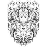 Vector hand drawn illustration of fortune teller. With three eyes. Hand sketched creative artwork with baroque and floral motives. Template for card poster Stock Images