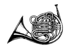 Vintage illustration of French horn. Vector hand drawn illustration of French horn in vintage engraved style. Isolated on white background vector illustration